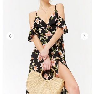 F21 Open Shoulder Floral Wrap Dress Small